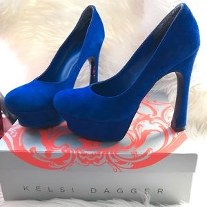 Kelsi Dagger royal blue suede high heel shoes